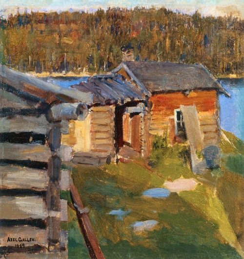 Akseli Gallen-Kallela (1865 –1931). The Ekola Croft in Evening Sunlight. 1889. Oil on canvas.