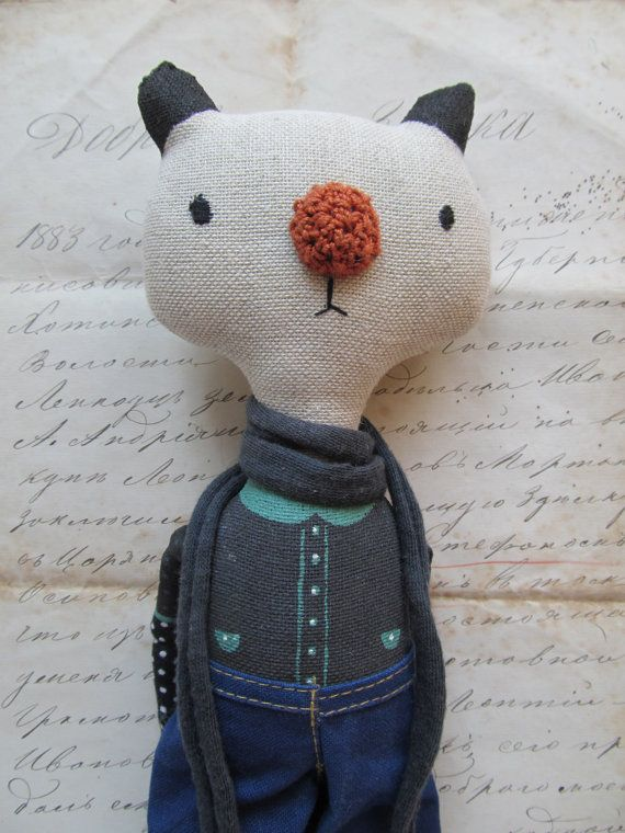 Handmade cat doll Fabric cloth Soft stuffed toy by KukloFerma