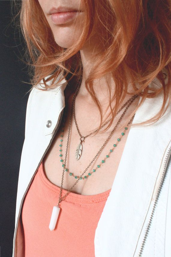 Layered crystal necklace by Ananke Jewelry. Agate & White Marble. Gemstone necklaces are trendy and great as Christmas gift or any occasion. Boho style is everywhere :) Welcome to my shop and find more Bohemian style designs, all the jewelry is handmade :)