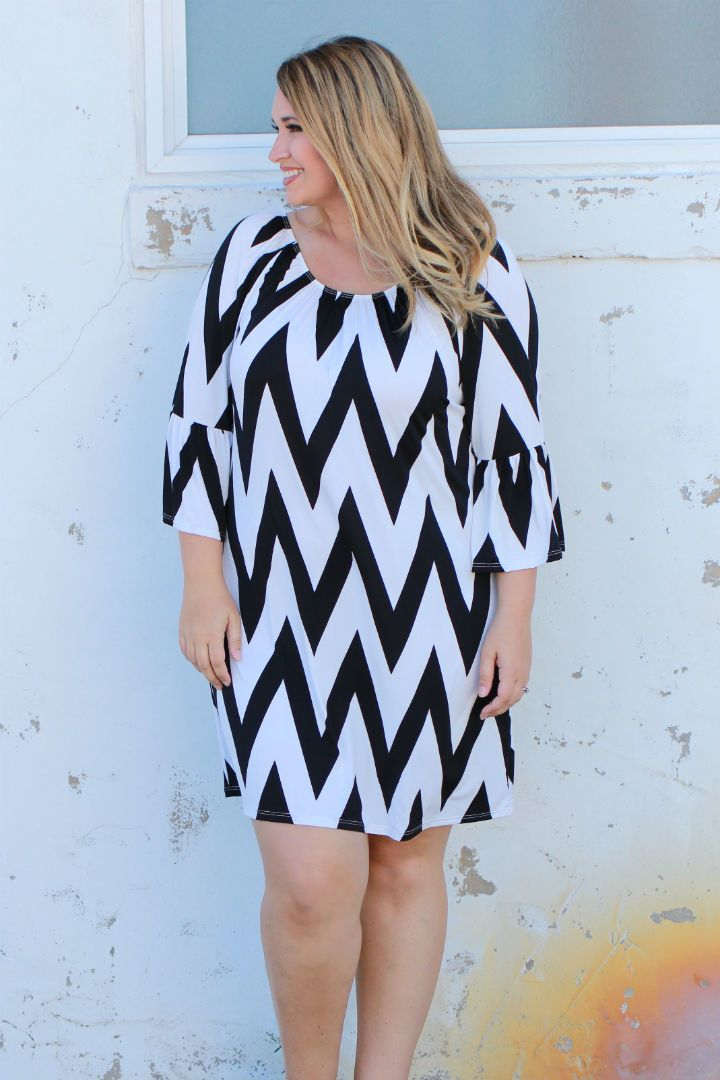 One Faith Boutique - Places To Go Chevron Print Dress With Bell Sleeves ~ Black ~ Sizes 12-18, $35.00 (https://www.onefaithboutique.com/new-arrivals/places-to-go-chevron-print-dress-with-bell-sleeves-black-sizes-12-18/)