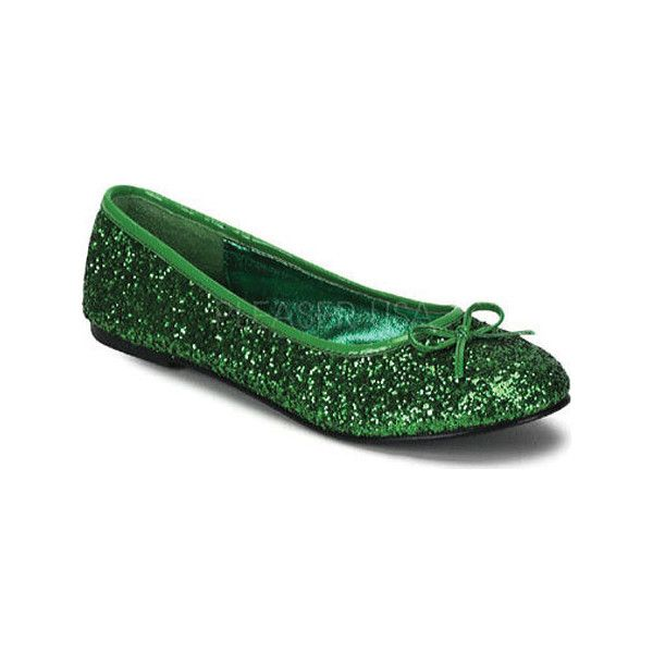 Women's Funtasma Star 16G - Green Glitter Casual ($32) ❤ liked on Polyvore featuring shoes, flats, green, green flat shoes, bow flat shoes, slipon shoes, funtasma shoes and pull on shoes