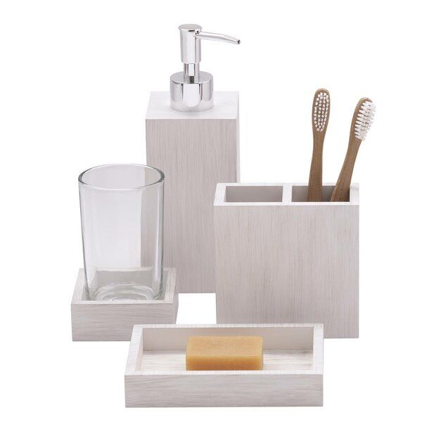 Adella 4 Piece Bath Accessory Set In 2020 Bath Accessories Whitewash Wood Bath Linens