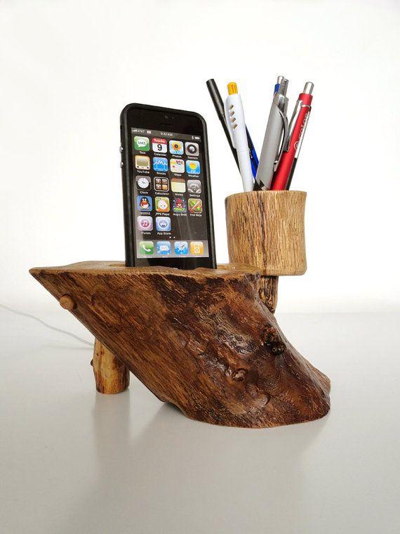 Wooden docking station and pen holder, handmade from oak wood.