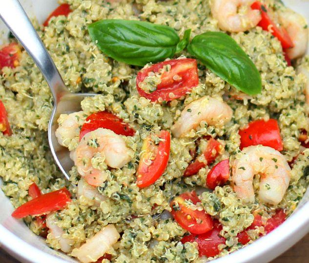 Pesto Quinoa with Shrimp and Tomatoes