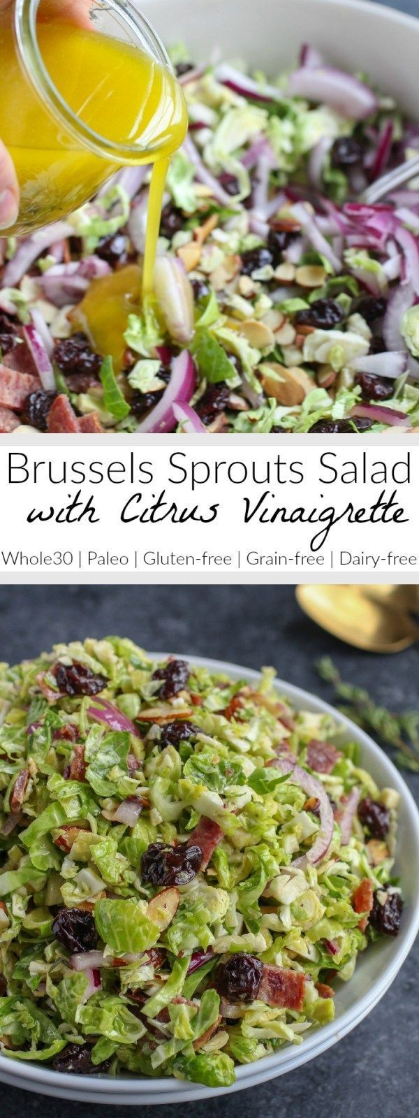 Brussels Sprouts Salad with Citrus Vinaigrette   Shredded Brussels sprouts are a hearty stand in for lettuce in this delicious salad that's studded with toasted almonds, tart dried cherries and smoky bacon   Whole30   Paleo   Gluten-free   Dairy-free   http://therealfoodrds.com