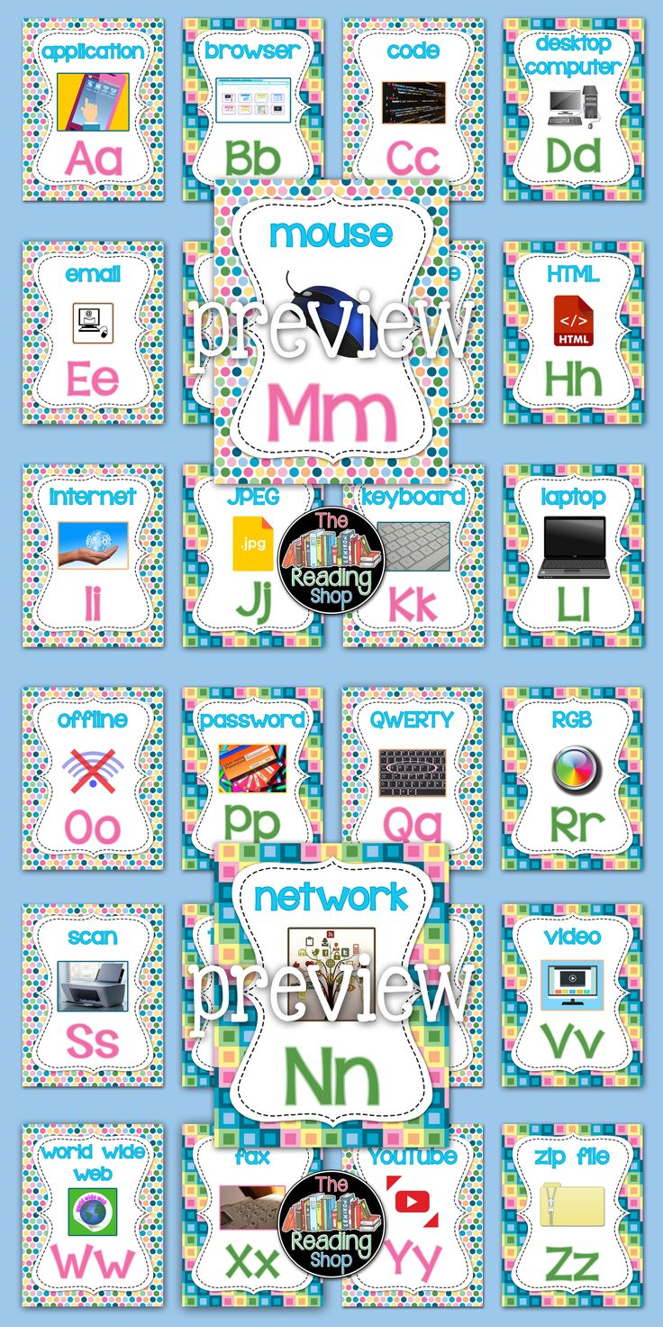 Technology ABC Posters - rainbow theme!