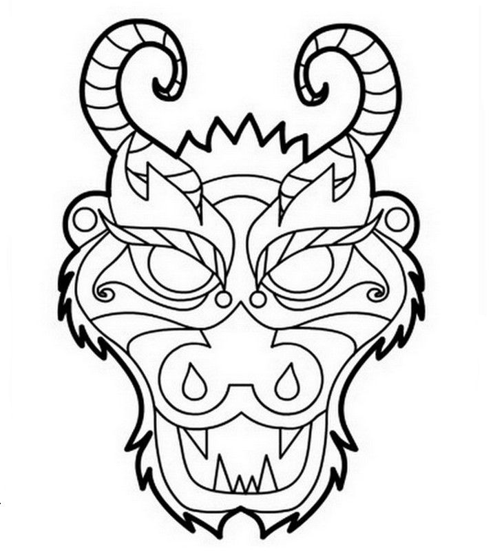 Japanese Dragon Clip Art | Un masque de dragon