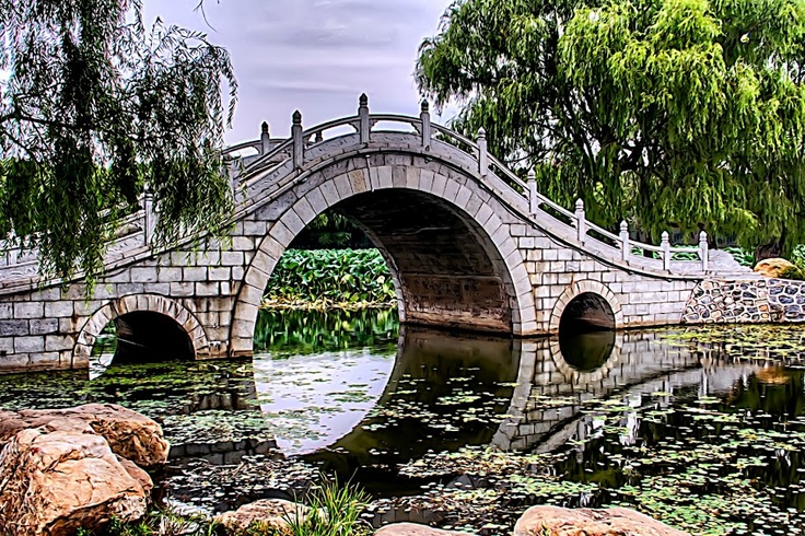 Peaceful bridge in Nanho Park, Changchun, China, photo William Rainey