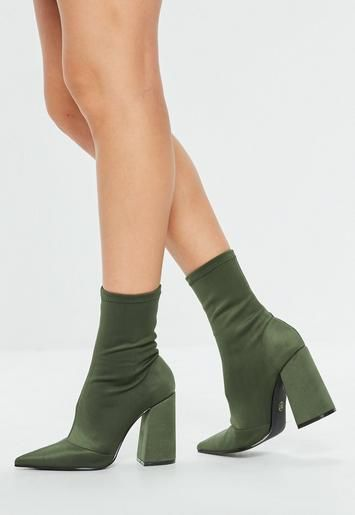 7746aac85f17 Khaki sock style ankle boots with pointed toe and block heel ...