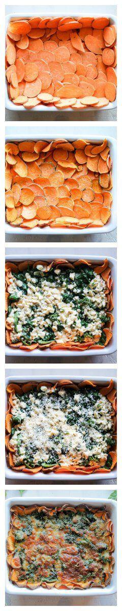 Easy hartige taart met zoete aardappel, spinazie en geitenkaas. | It's a Food Life