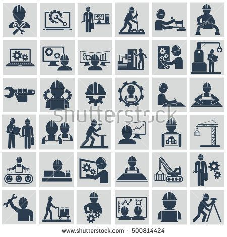 Engineer construction equipment machine operator managing and manufacturing icons flat set isolated vector illustration.