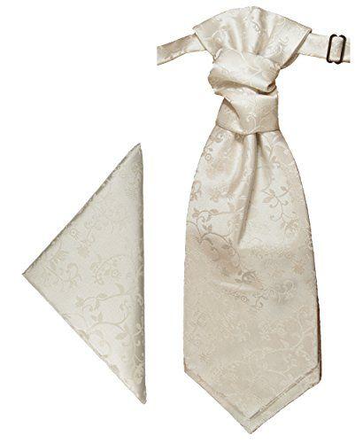 Wedding Cravat Set 2pcs ( ivory ) Ascot Tie Plastron + Handkerchief by Paul Malone