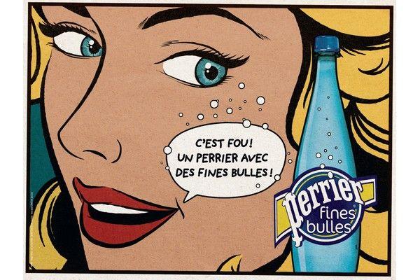 "Perrier ""Fines Bulles"" (2012) by Joseph McDermott ; Roy Lichtenstein Pop Art style #print AD"