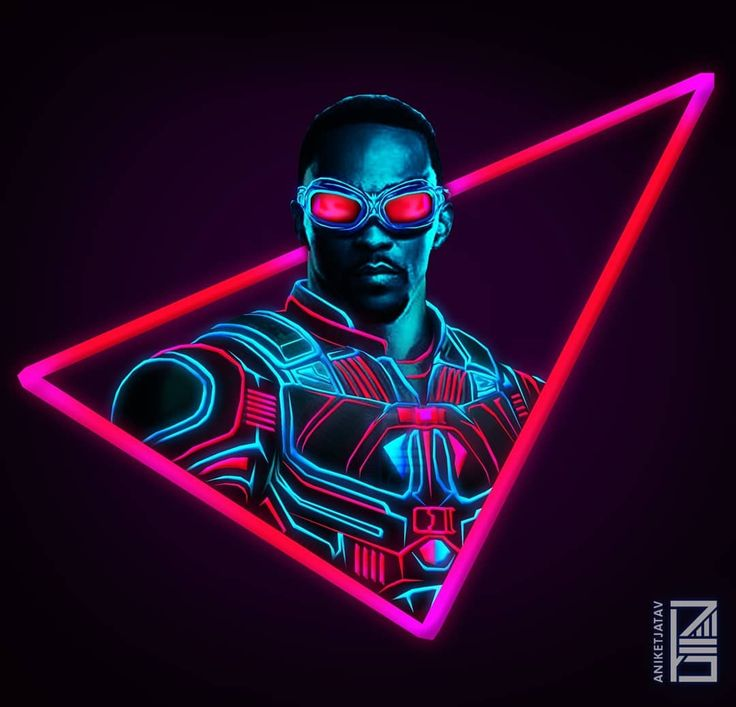 "4,586 Likes, 53 Comments - Aniket Jatav (@aniketjatav) on Instagram: ""61/365 : NEON MARVELS Artwork : 25 - Good Ol' FALCON  Went for Wings closed version because the…"""