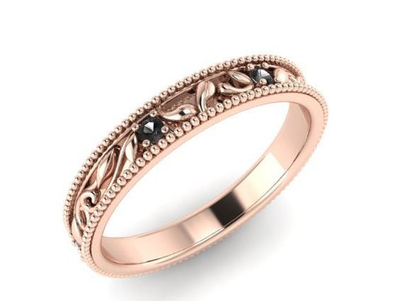 Bohemian Wedding Rings, Wedding And Engagement Ring, Rose Gold And Black  Diamonds, Unique