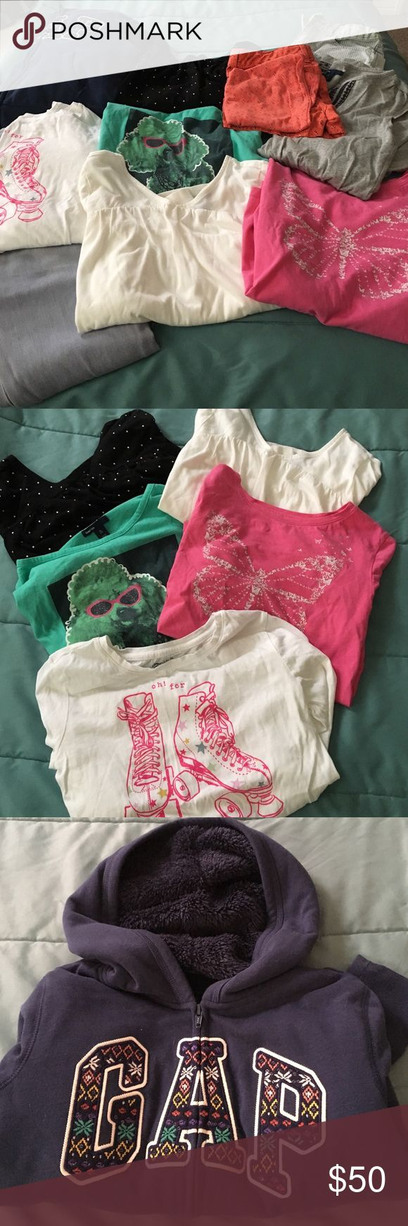 Girls size 12 GAP clothing bundle GAP clothing bundle.  Girls size 12 (L). 5 long sleeve shirts, fur lined jacket, 1 pair of jeans, 1 short sleeve dress, 2 pair of shorts and tank top. GAP Other
