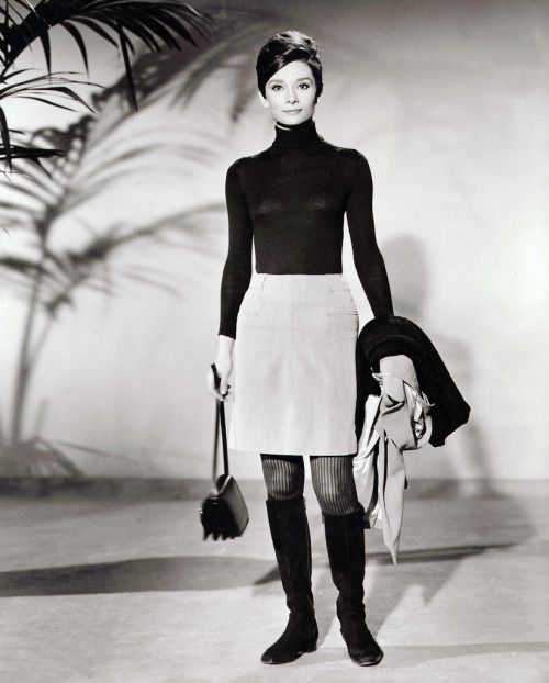 Audrey Hepburn 60s Mod Style Skirt Sweater Boots Purse Jacket Photo Print Ad Movie Star Model