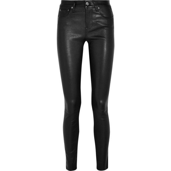 Helmut Lang Leather and denim skinny pants found on Polyvore featuring pants, jeans, bottoms, black and helmut lang