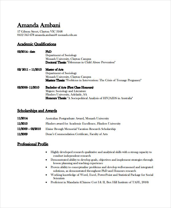 Academic Resume Cover Letter Examples Cv Template Word