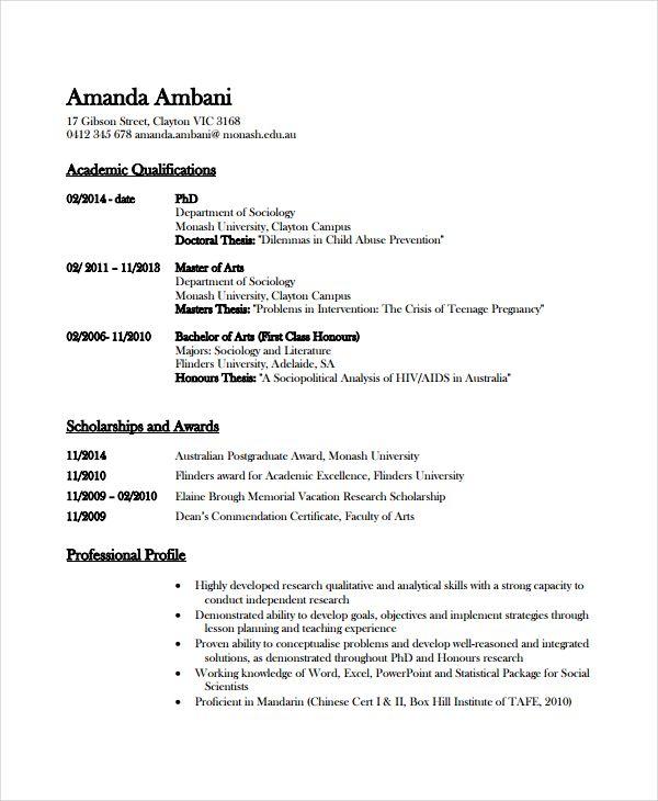 Resume Format Academic Academic Format Resume Resumeformat Resume Cover Letter Examples Academic Cv Cv Template Word