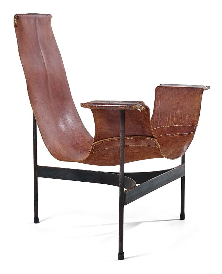 Luther Conover , A Patinated Metal And Leather Armchair. From A Limited,  Handmade Production