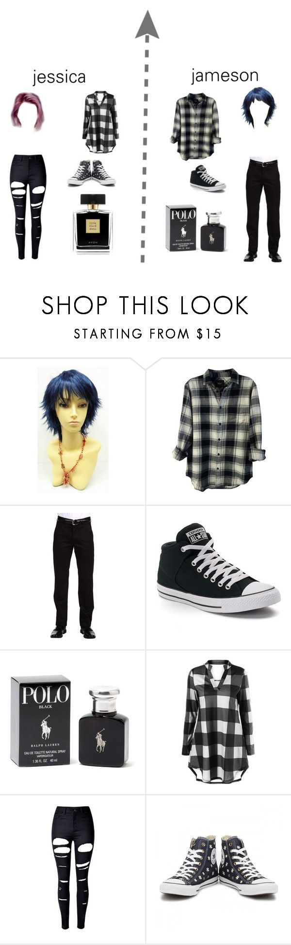 """Modern-day Jessie+James from Pokemon"" by izzymaster ❤ liked on Polyvore featuring Rails, Dockers, Converse, Azzaro, WithChic, Avon and modern"