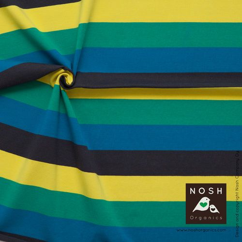 NOSH Multicolor Stripes Blue. Organic cotton jersey