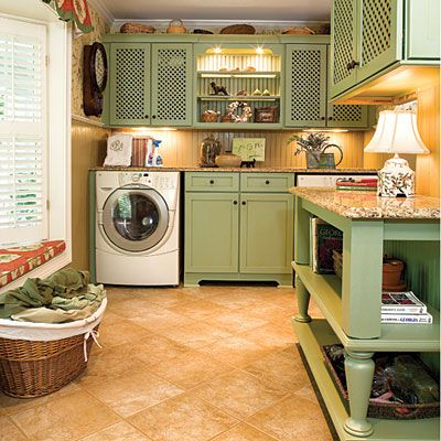 I could enjoy doing laundry here!: Laundryrooms, Spaces, Rooms Idea, Green Cabinets, Storage Shelves, Cabinets Color, Coff Tables, Cupboards Doors, Dream Laundry Rooms