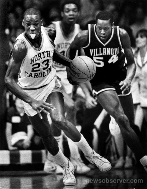 Michael Jordan heads downcourt after making a steal from Villanova's Ed Pickney March 21, 1982.