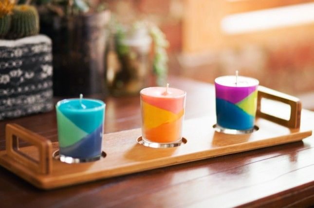 Color block candles -Awesome DIY Weekend Projects for Beautification of Your Home