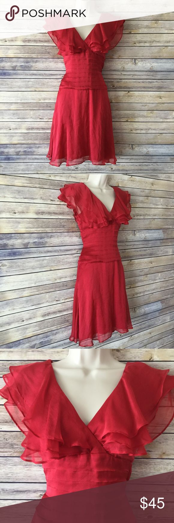 BEBE NWT Red Chiffon Dress with Ruffled Sleeves Style description: BEBE NWT Red Chiffon Dress with Ruffled Sleeves, tapered waist  Size: 2  Condition: New with tags!  Measurements available upon request and all are taken while laying flat. Measurements are approximate. bebe Dresses