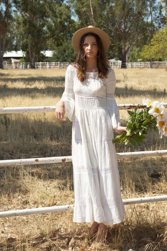 Vintage Wedding Dresses, Long Sleeved, 70s, Crochet, Lace, Bohemian, Cotton, Hippie - Jackie