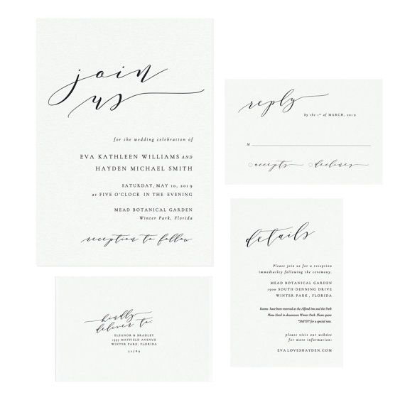 Printable Wedding Invitation Template, Handwritten Calligraphy Wedding Invitation Suite, Simply Editable, PDF Instant Download #SS006_1