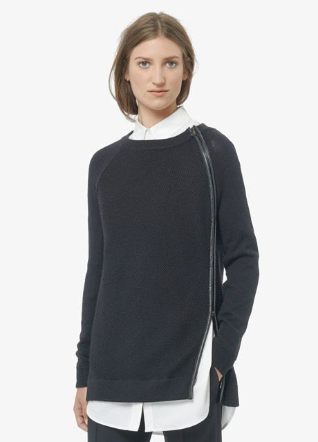 Leather Trim Textured Sweater | Vince