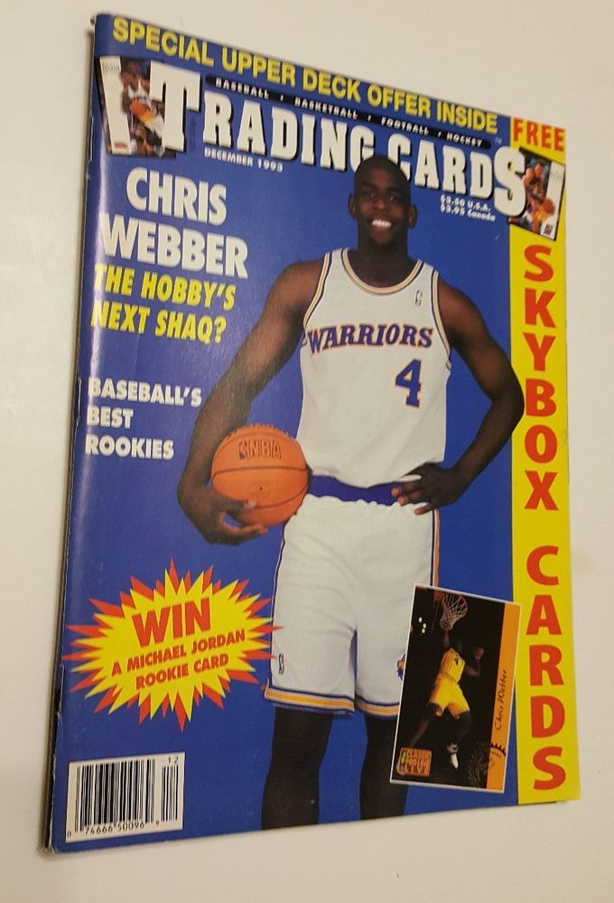 CHRIS WEBBER Warriors Trading Cards Magazine 1993 WITH 6 SKYBOX Cards Attached
