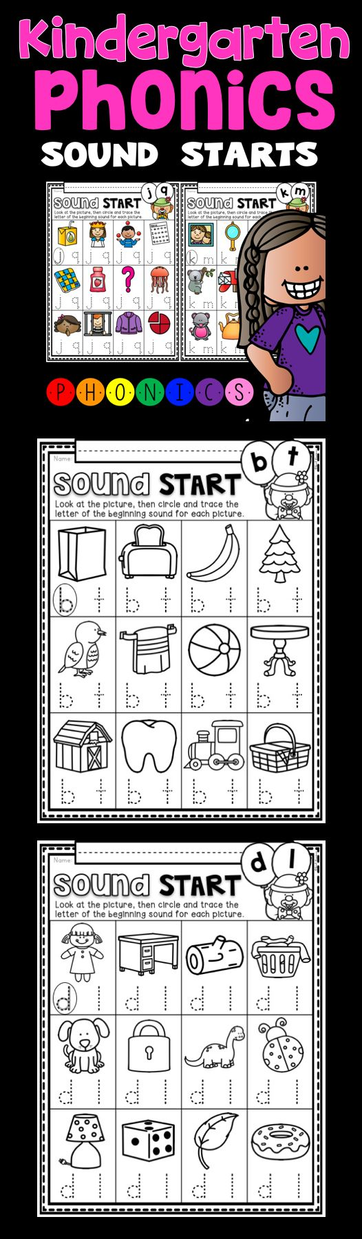 Kindergarten Phonics Activities! For this activity, students are asked to identify the beginning sound by circling, then tracing the beginning sound that matches the picture. These printables are perfect for your literacy stations, homework or review work.