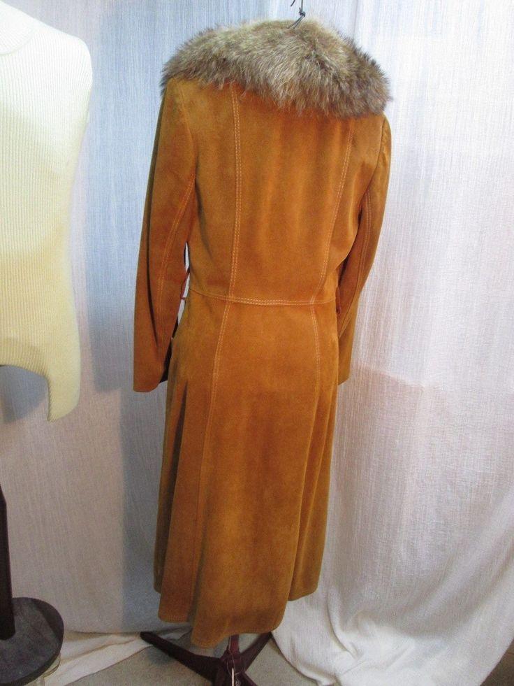 C194 Vintage Ladies Suede Leather Winter Trench coat