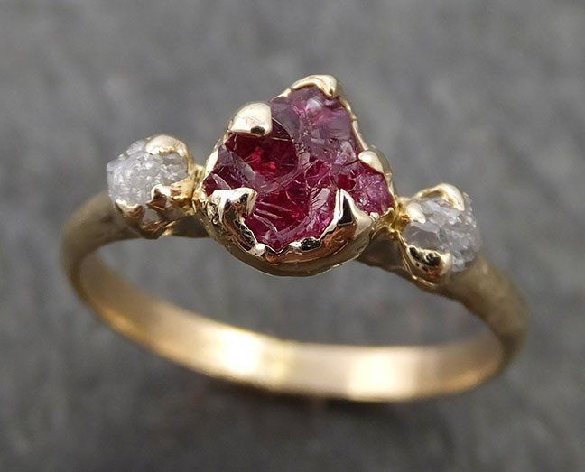 Raw Rough Ruby Diamond Engagement Ring 14k red Gemstone Engagement birthstone Right Hand Ring Multi Stone byAngeline 0406