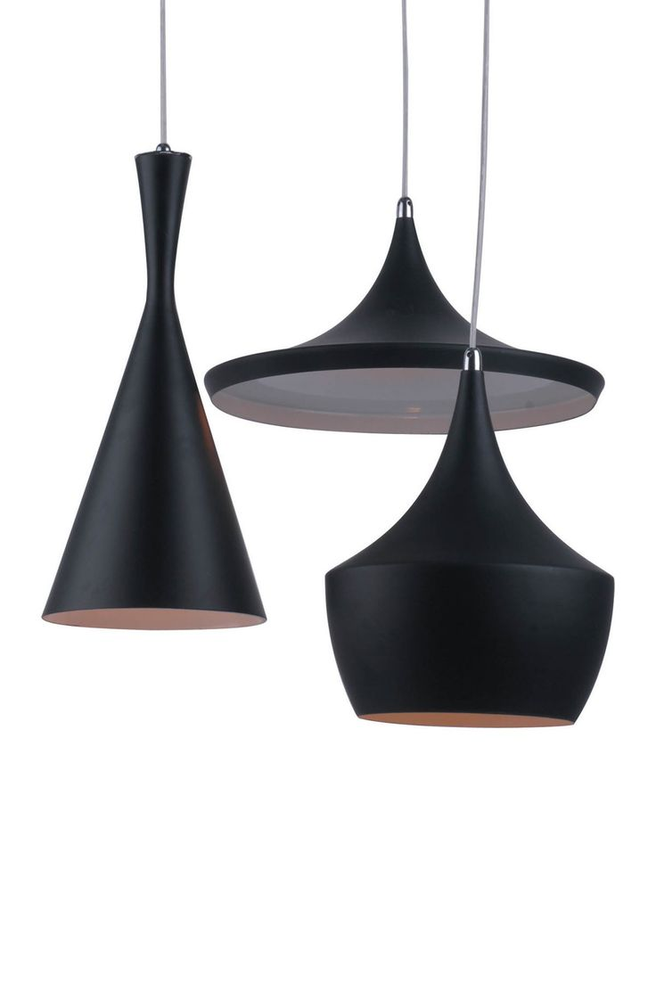 Tom Dixon Chandeliers. Matte Black Pendant Lights.