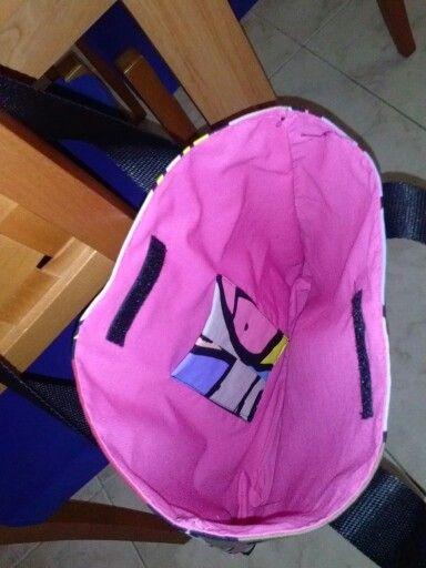 Interior de bolso de loneta y polipiel