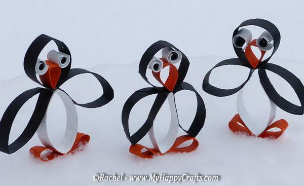 Penguin Craft for Kids -Homemade Animal Themed Toilet Paper Roll Crafts, http://hative.com/homemade-animal-toilet-paper-roll-crafts/,