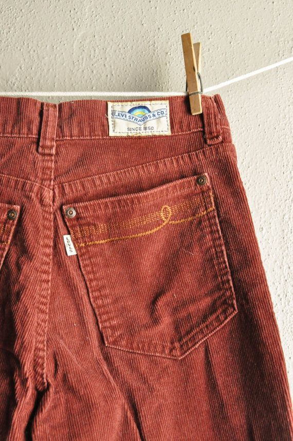 Vintage 70s Rare Levis Brick Red Corduroys White by drowsySwords