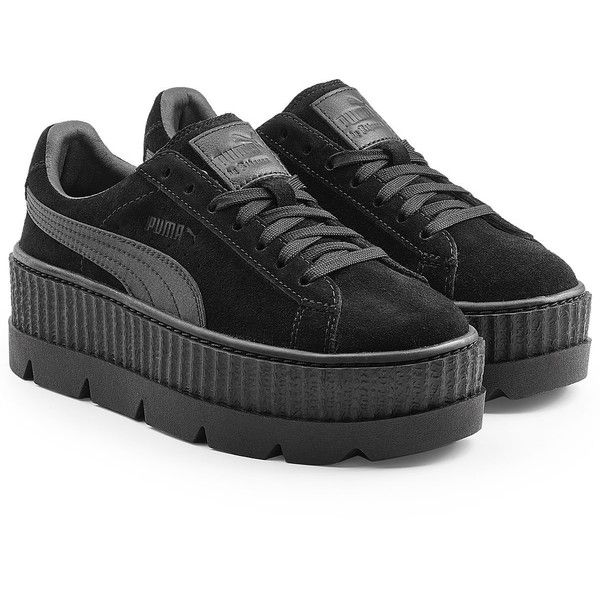 FENTY Puma by Rihanna The Cleated Creeper Sneakers ($180) ❤ liked on Polyvore featuring shoes, sneakers, black, suede sneakers, puma shoes, black platform shoes, creeper sneakers and black creeper shoes