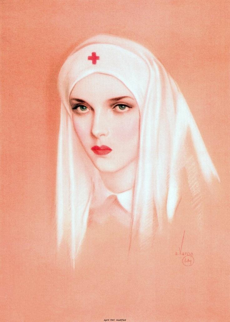 Vintage Red Cross Nurse illustrated by Alberto Vargas.