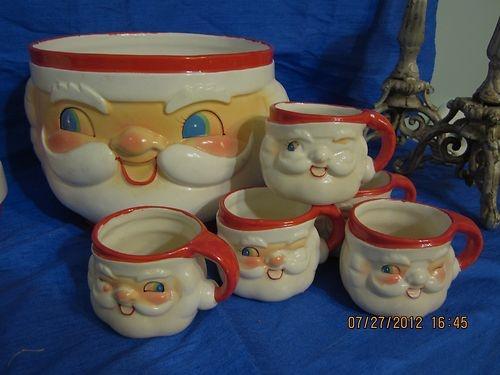 Vintage Holt Howard Christmas Santa Punch Bowl & Cups