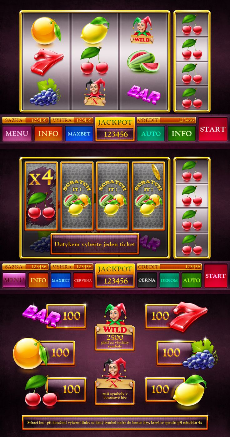 "Development of symbols, buttons, game screens and paytables for the game slot-machine ""Scratch it"" http://artforgame.com/"