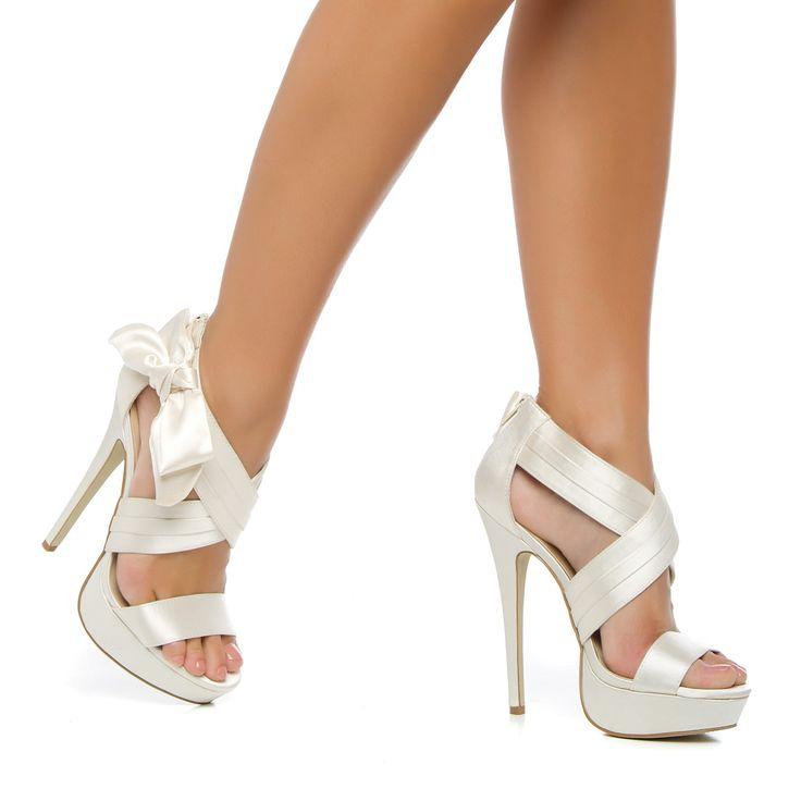 Ivory Bow Detail Platform Sandal