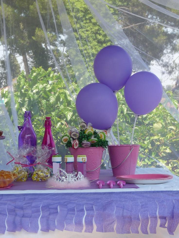Decoracion para fiestas en lila y rosa preciosa la idea - Decoracion fiesta rosa ...
