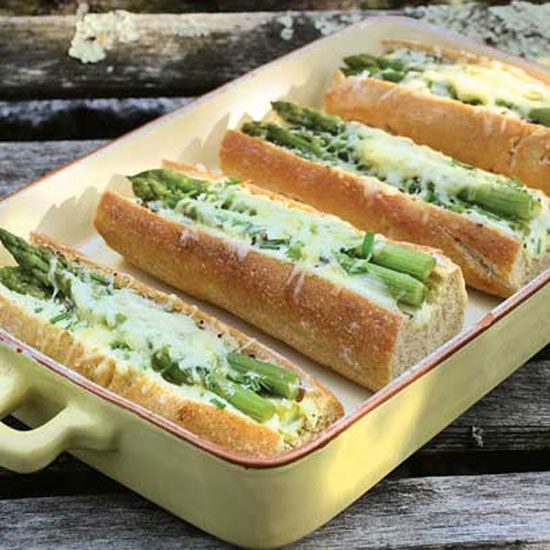 Baguette Sandwiches with Asparagus Recipe  This easy baguette sandwich showcases lightly cooked asparagus with melted Gruyere cheese.