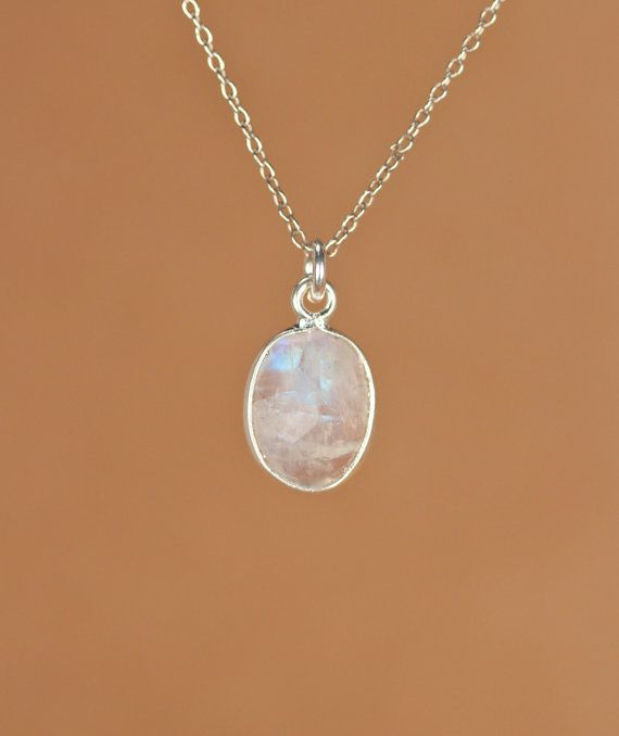 Moonstone necklace  silver moonstone  june birthstone  by BubuRuby